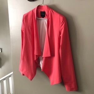Coral New Look waterfall blazer from ASOS, US 4